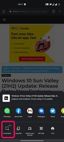 Chrome für Android-Screenshot-Tool