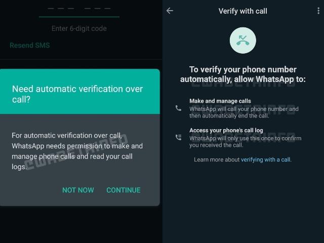 WhatsApp Flash ruft Verifizierungsmethode auf