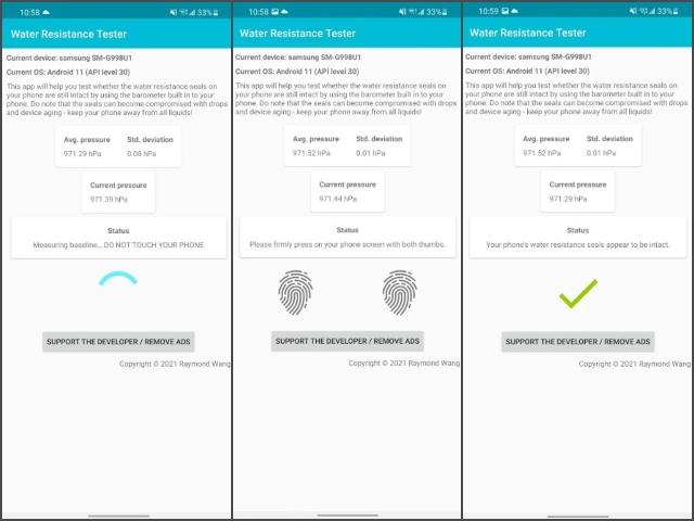 Mit dieser App können Sie die Wasserbeständigkeit Ihres Telefons testen