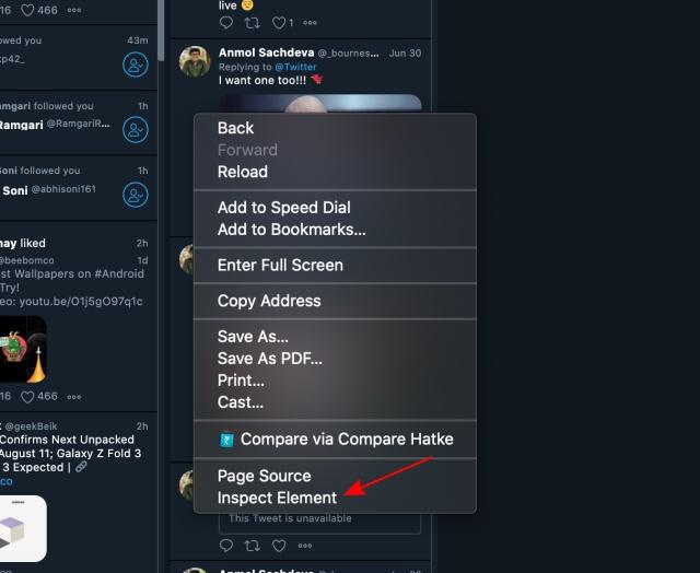 Element inspizieren - Tweetdeck-Vorschau