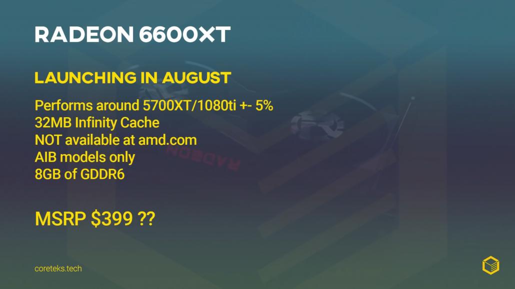 Angebliche Preise, Leistung und Startdatum der AMD Radeon RX 6600 XT Grafikkarte wurden von Coreteks enthüllt.