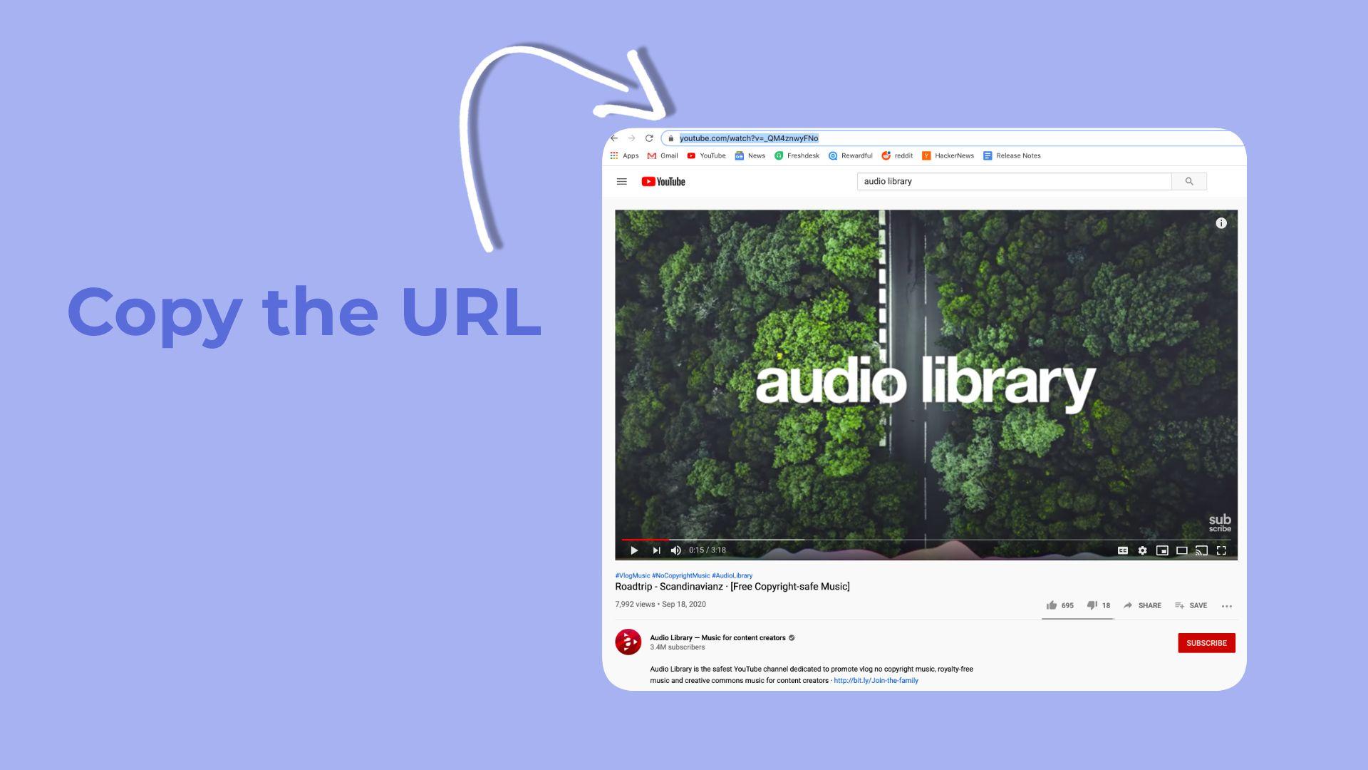 Eine Grafik, die zeigt, wie die URL aus einem YouTube-Video kopiert wird.